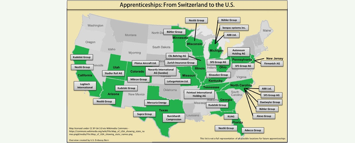 More Swiss Companies Bring Apprenticeship Programs To The US - Us map apprenticeship program