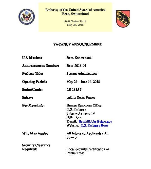 SN38-18 Job Vacancy Announcement - System Administrator | U.S. ...